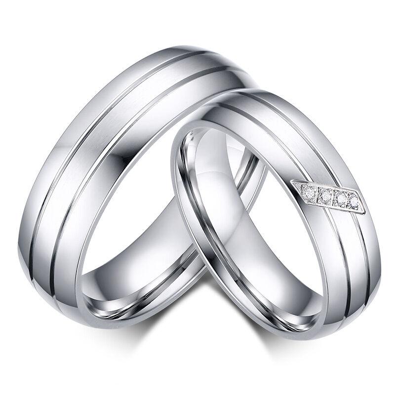 2 Partner Ringe Eheringe Trauringe Verlobungsringe Edelstahl Freundschaftsringe