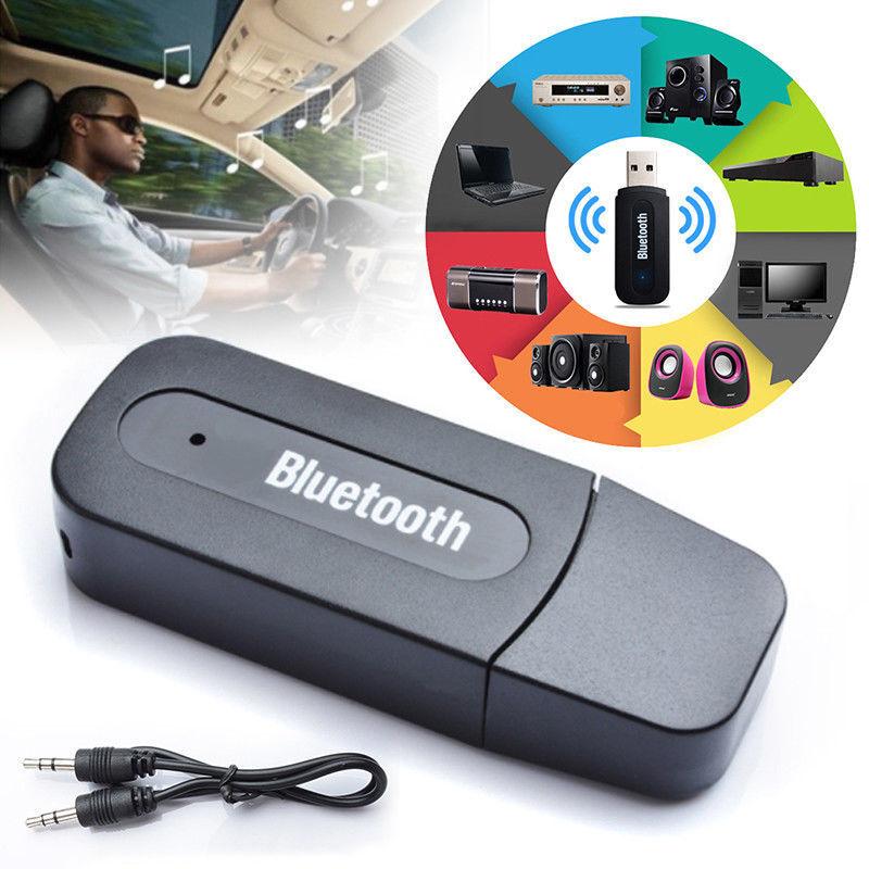 Bluetooth USB Empfänger 3.5mm Stereo Audio Musik Receiver Adapter AUX IN schwarz
