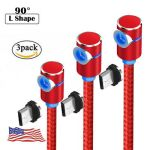 3Pack 90 ° Magnetic Micro USB Type C LED Cable Fast Charging For Android Phone