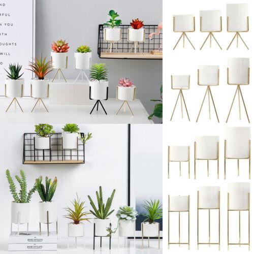 Innen & Außen Blumenständer/Pflanztopf Metallgestell Keramik Blumentopfhalter DE