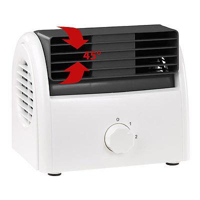 Sichler Leiser Mini-Tischventilator, Walzen-Technologie, 2 Stufen, bis 35 Watt