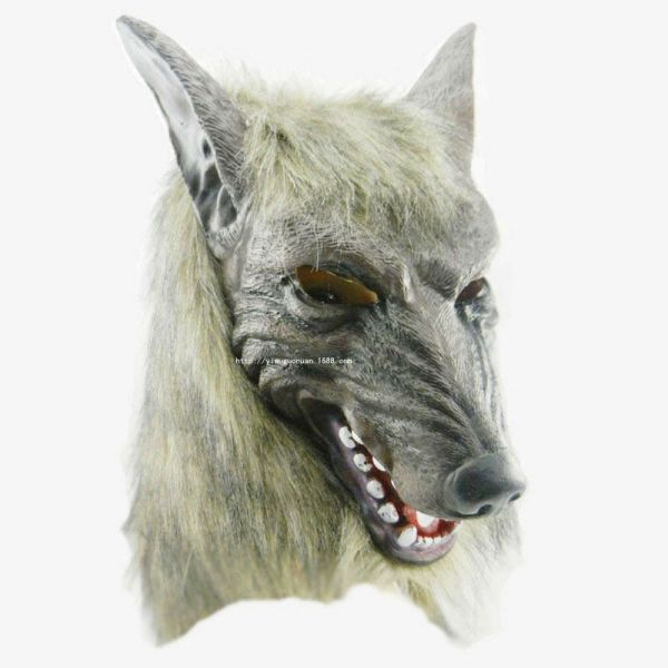 Adult Halloween Mask Full Face Wolf Head Cosplay Costume Party Props Hood Cover 1