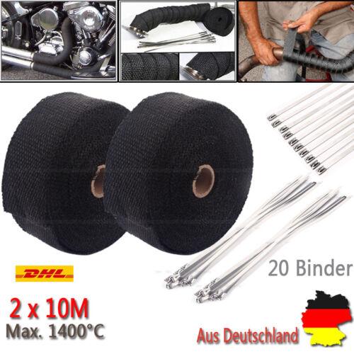 2x10m Titan Hitzeschutzband Auspuff Band bis 1400° Schwarz Hitzeschutz Krümmer A
