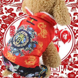 Pet Dog Cat Chinese Style Clothes Tang Costume New Year Warm Coat Spring Apparel
