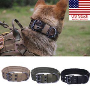 US Military Tactical Adjustable Dog Training Collar Nylon Leash MetalBuckle M-XL