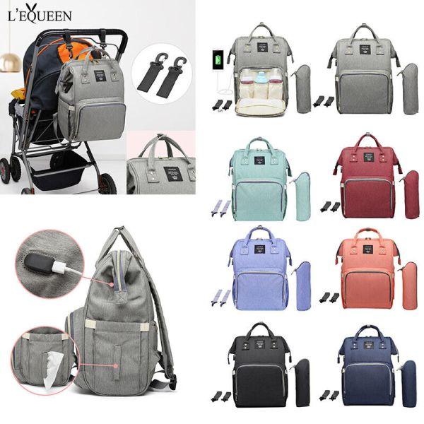 LEQUEEN Waterproof Diaper Bag USB Charging Large Capacity Mummy Nursing Backpack