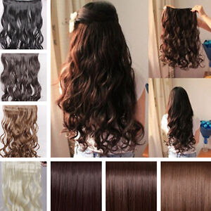 17 26 long new women hair extensions wavy curly straight synthetic clip in on