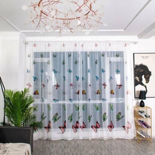 room divider butterfly print sheer