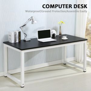 Wood Computer Desk PC Laptop Table Workstation Study Home Office Furniture Black