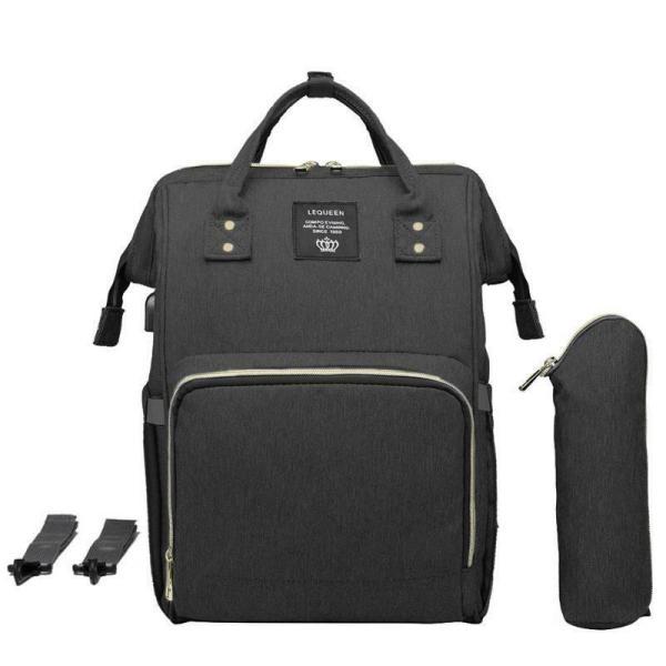 LEQUEEN Waterproof Diaper Bag USB Charging Large Capacity Mummy Nursing Backpack 6