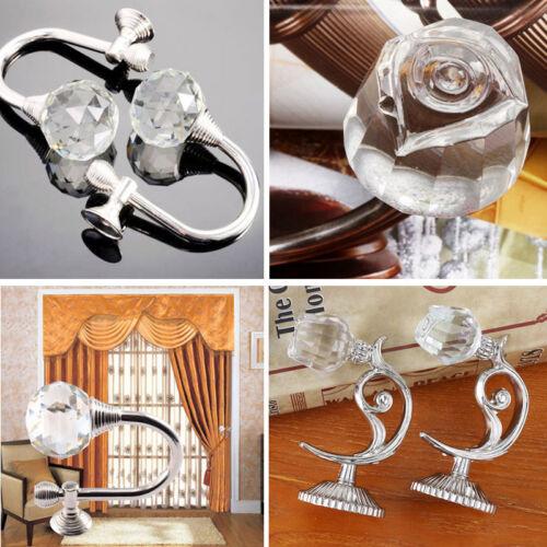 2 x Kristall Glas Bling Kugel Raffhalter Gardinenhalter Vorhanghalter Haken