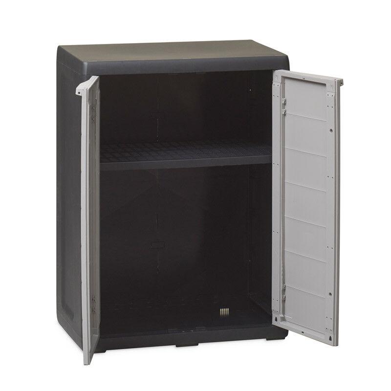 Beistellschrank Kunststoffschrank Schrank Balkonschrank Grau 1 Boden Elegance