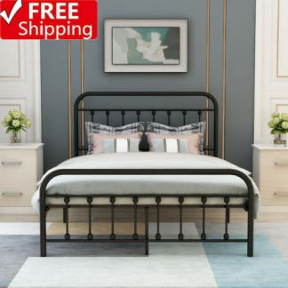 US Queen Size Metal Bed Frame Black Mattress Foundation with Headboard Footboard