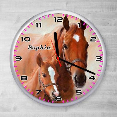 Kinder Wanduhr Pferd Pferde Fohlen Kinderzimmer Uhr mit Namen kein Ticken