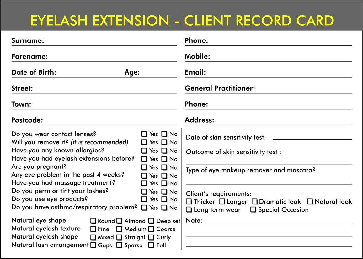 Eyelash Extension Beauty Record Consultation Cards For Salon Beauty Therapist EBay