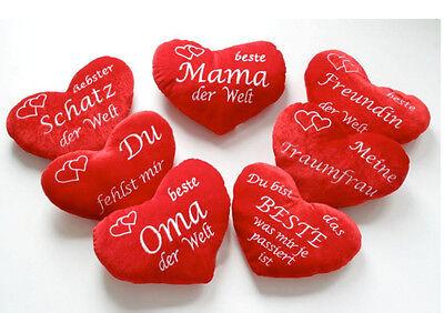 Plüschherz Herzkissen Kissen Herz Rot mit Schrift verschiedene Motive & Größen
