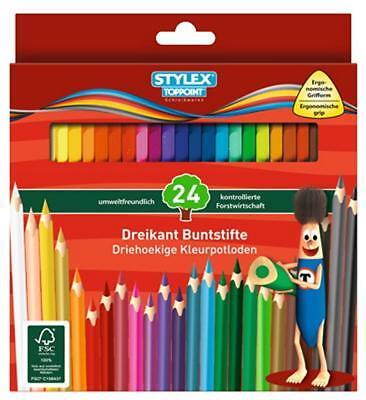 24 Dreikant Buntstifte Farbstifte Malstifte