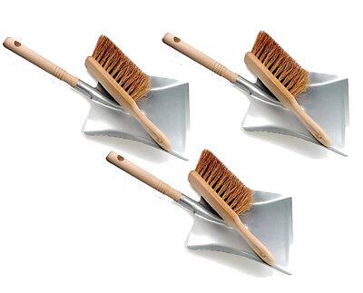 3 Stück Kehrgarnitur Kehrblech-Set und Handfeger Kehrschaufel Kehrset Set