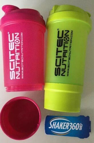 2 Eiweiß Shaker Scitec Protein Mixer mit Sieb ca.500 ml mit Fach f.Proteinpulver