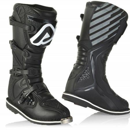 stivali motocross enduro Acerbis E-Team colore nero puntale in acciaio Quad ATV