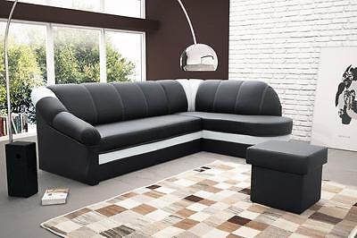 Sofa Couchgarnitur BENAMO Couch FEDERKERN Polesterecke mit Schlaffunktion
