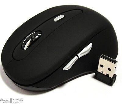 Schwarz Funk 5 Tasten Maus 2,4GHz Wireless für Laptop Notebook Computer PC USB 3