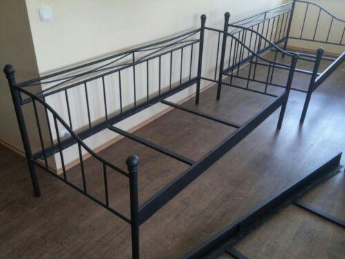 Einzelbett Bettgestell Sofa Metall Schwarz 90x200 cm ohne Lattenrost