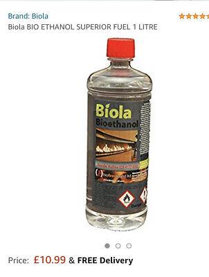 Bio ethanol Fuel Fire Premium Grade Quality, Clean Burn Biofuel X 12 1l Bottles