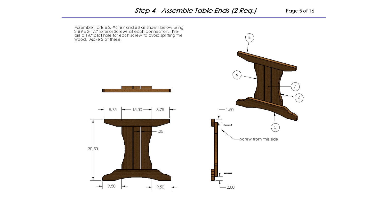 8ft Trestle Style Picnic Table With Benches Plans 002