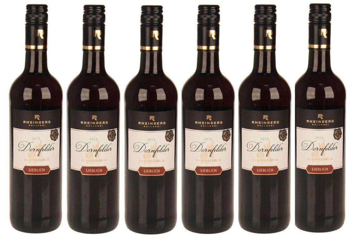 6 Flaschen Rheinberg Dornfelder Rotwein, lieblich, 0,75 L