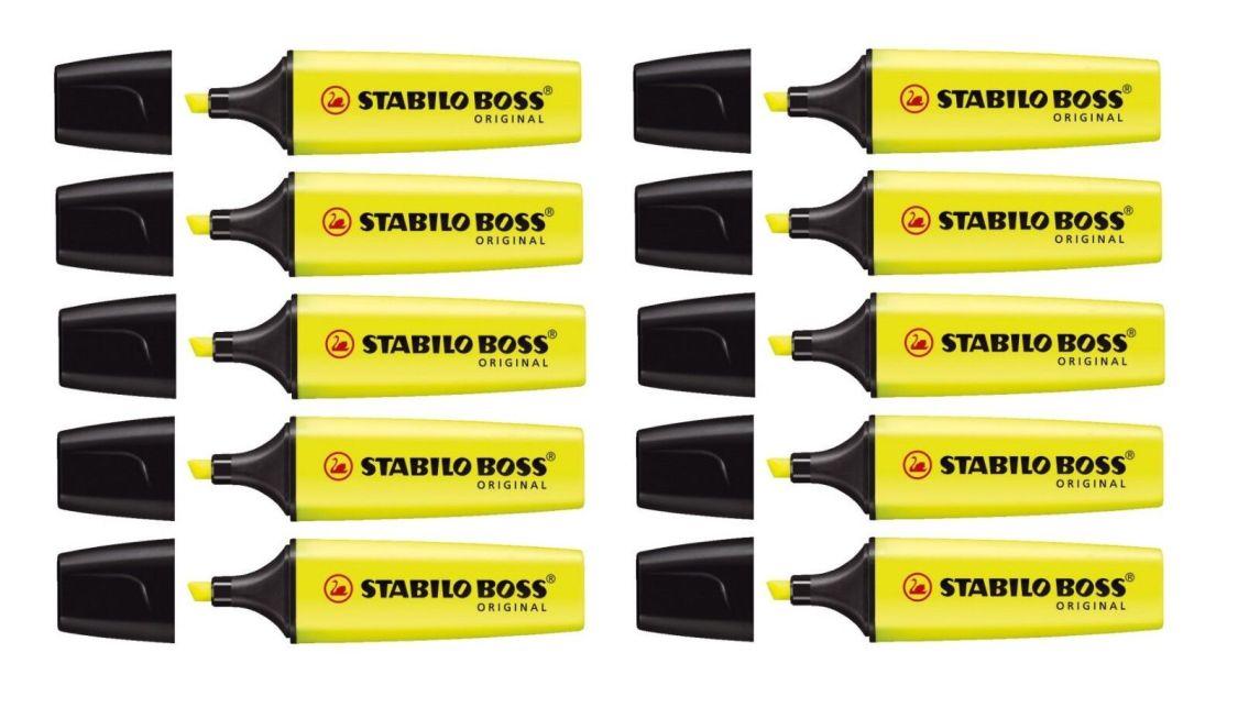 10 x Stabilo Textmarker Original Boss 2 - 5 mm, gelb