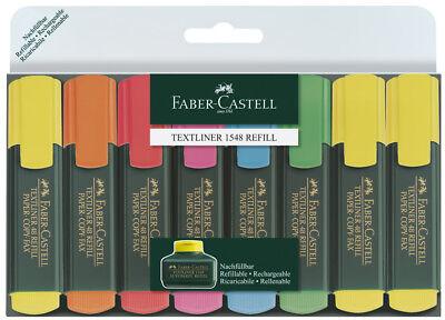 8 Textmarker Faber-Castell Textliner 48 Refill Paper-Copy-Fax farbs. 154862
