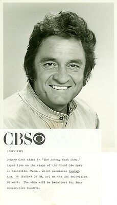 JOHNNY CASH PORTRAIT THE JOHNNY CASH SHOW ORIGINAL 1976 CBS TV PHOTO