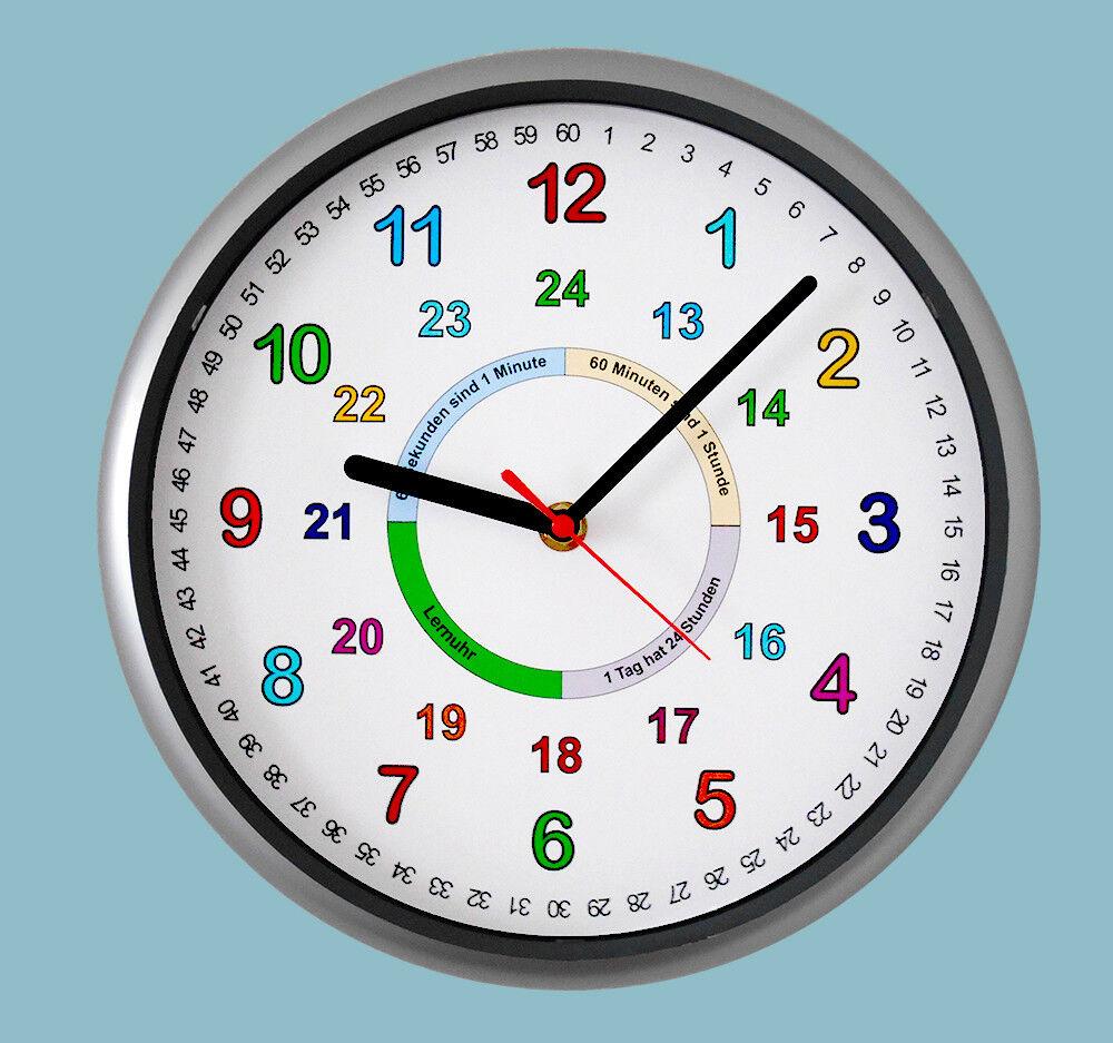 Kinder Wanduhr Uhr Lernuhr Schule lernen bunte Zahlen 12/24 Stunden kein Ticken