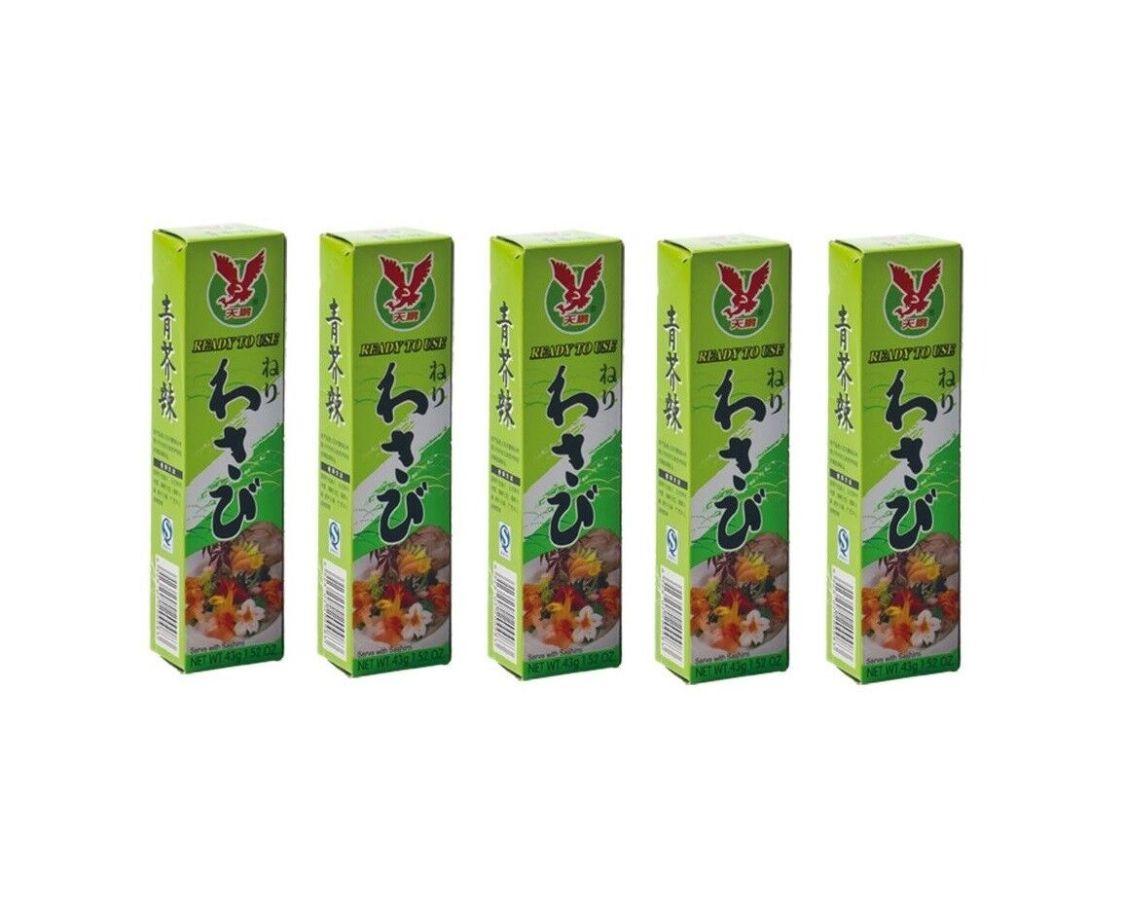 MENGE! 5 Tuben Wasabi Paste scharf 5 x 43g Sushi grüner Meerrettich Wasabipaste