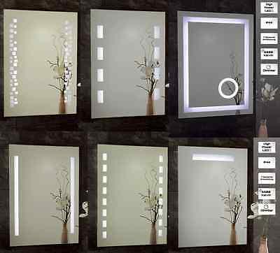 Badspiegel LED Beleuchtung beleuchtet hoch+quer hängbar Badezimmer Rahmen Dimmer