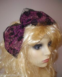 80s style lace oversized hair bow bow tie party fancy dress 10 colours