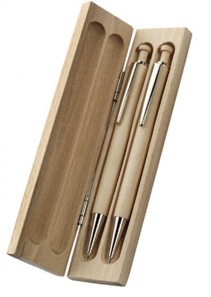 Schreibset 'Malente' aus Ahornholz Kugelschreiber und Druckbleistift