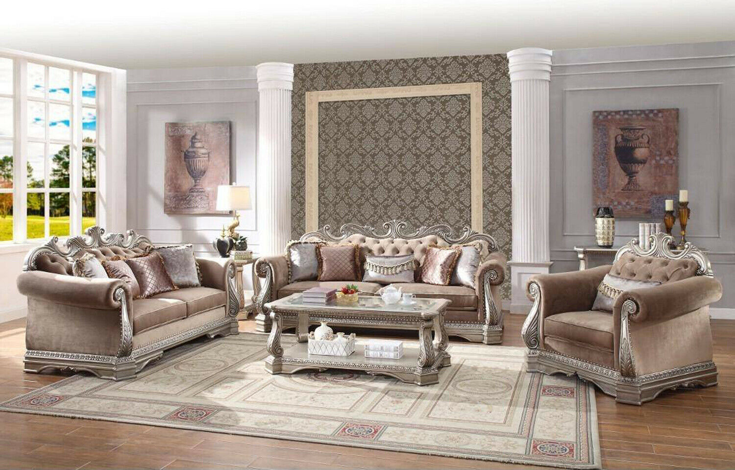 Details About Opulent Traditional Ornate Sofa Love Seat Chair 3 Piece Formal Living Room Set