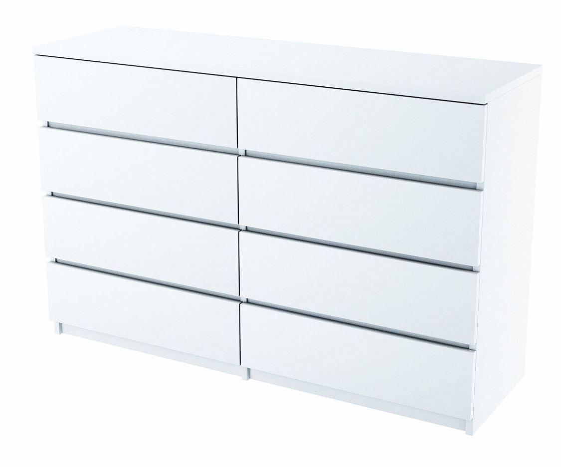 Kommode C013 Schrank 8 Schubladen Weiß, Schwarz, Hochglanzfronten, Schlafzimmer
