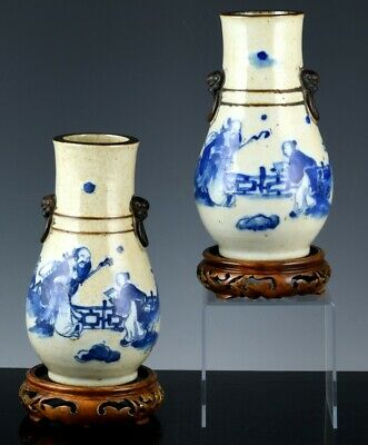 GREAT PAIR 19THC CHINESE BLUE & WHITE GUAN CRACKLE GLAZE FIGURAL VASES MARKED