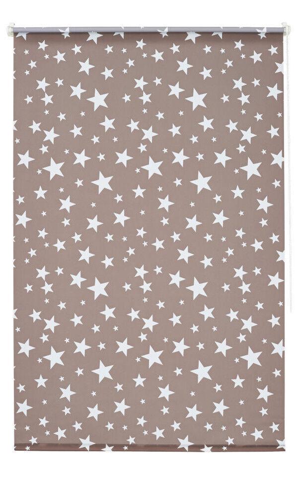Klemmfix Rollo Sterne Taupe Klemmrollo Thermo Sonnenschutzrollo 45-100 cm breit