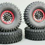 1 10 Scale Metal Truck Wheels Tires 1 9 Beadlock Rims W Tires V1 Black Red Ebay