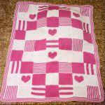 Patchwork Heart Baby Blanket Knit In Squares 32 X 40 Dk Knitting Pattern Ebay