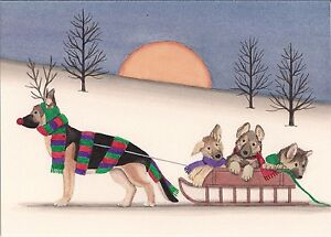 Christmas Cards German Shepherd Family Takes Holiday Sled