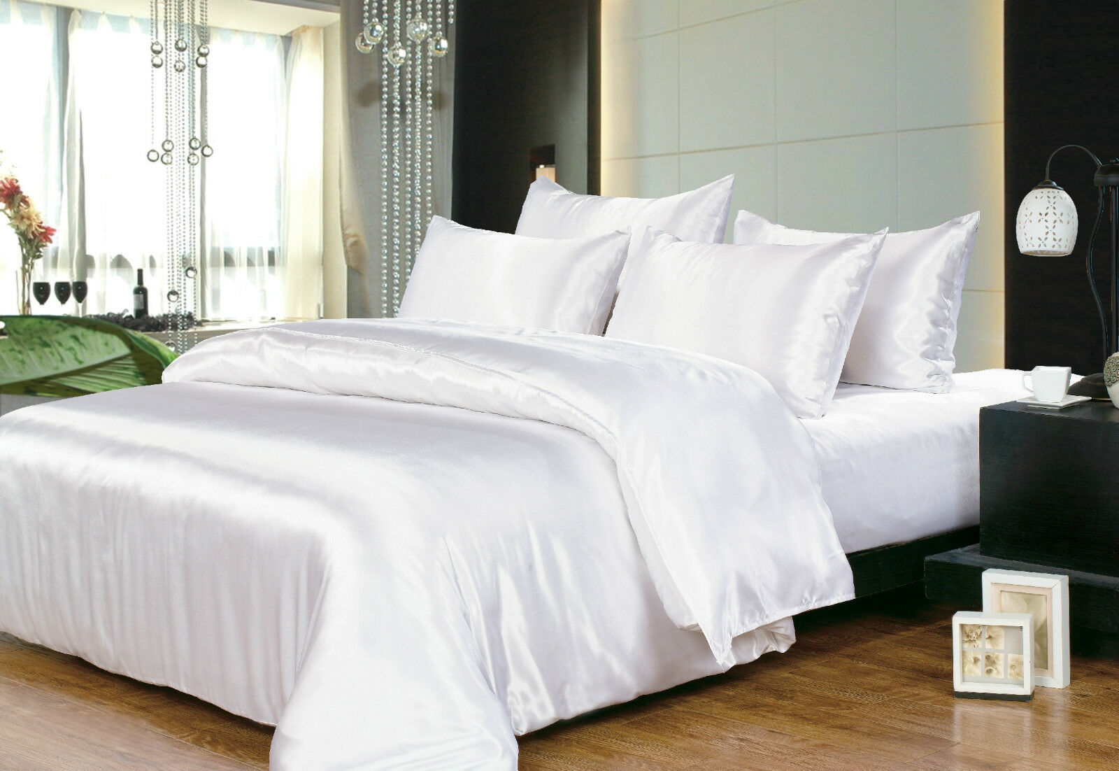Hotel Quality Silk Satin King Size Bed Sheet Set White