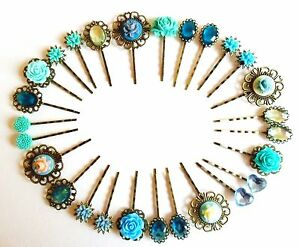 hair pins clips slides vintage accessories flower rhinestone rose blue green uk ebay