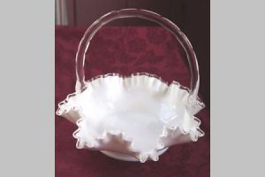 Vintage White Milk Glass Basket With Clear Applied Handle Ruffle Image Is Loading