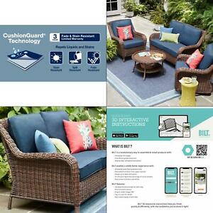 details about cambridge brown wicker outdoor patio loveseat with cushionguard midnight navy