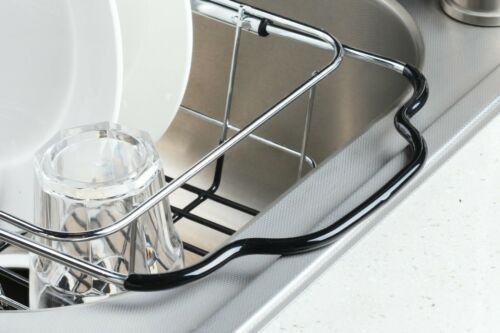 expandable over the kitchen sink small dish drainer drying rack chrome plated